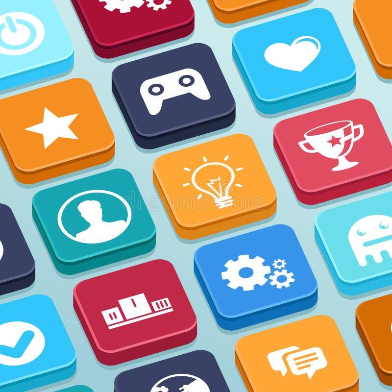 Vector mobiel app spel - knopen in vlakke stijl stock illustratie