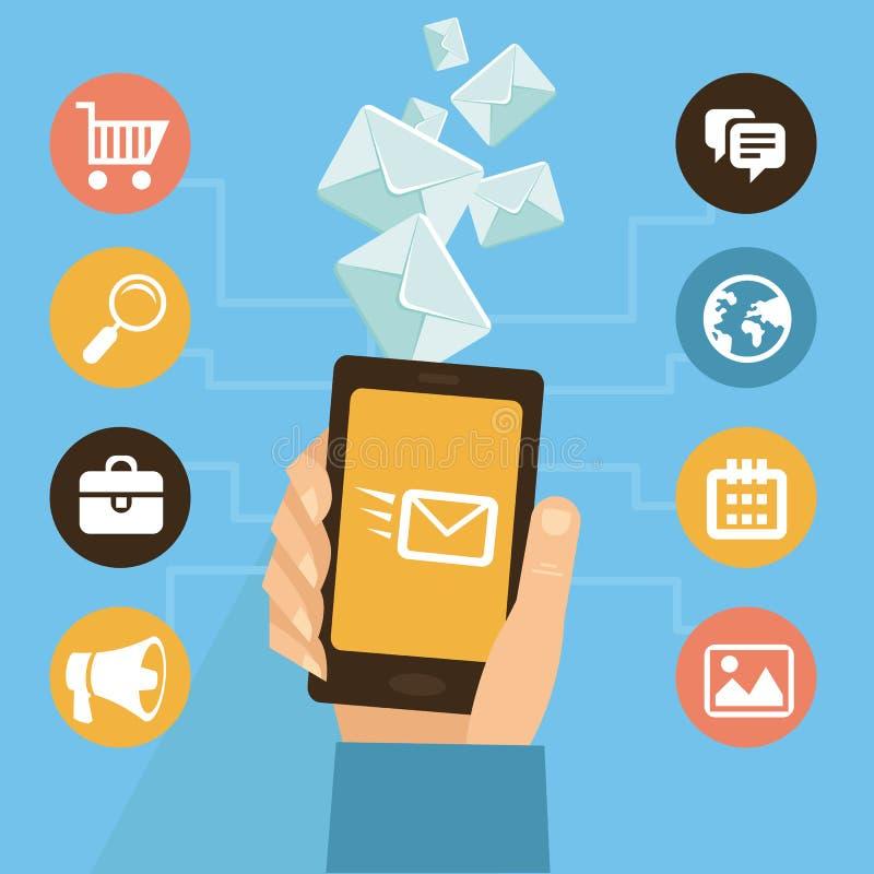 Vector mobiele app - eamil marketing en bevordering stock illustratie