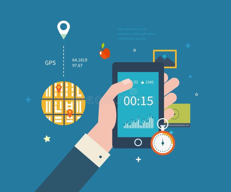 Vector mobiele telefoon - geschiktheidsapp concept  royalty-vrije illustratie