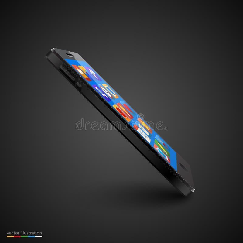 Vector mobiele telefoon op zwarte achtergrond stock illustratie