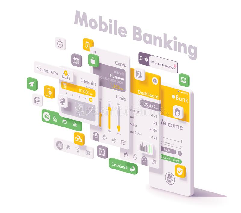 Vector mobile internet banking app concept. Vector mobile internet banking app illustration. Smartphone with bank application login page, account dashboard, bank royalty free illustration