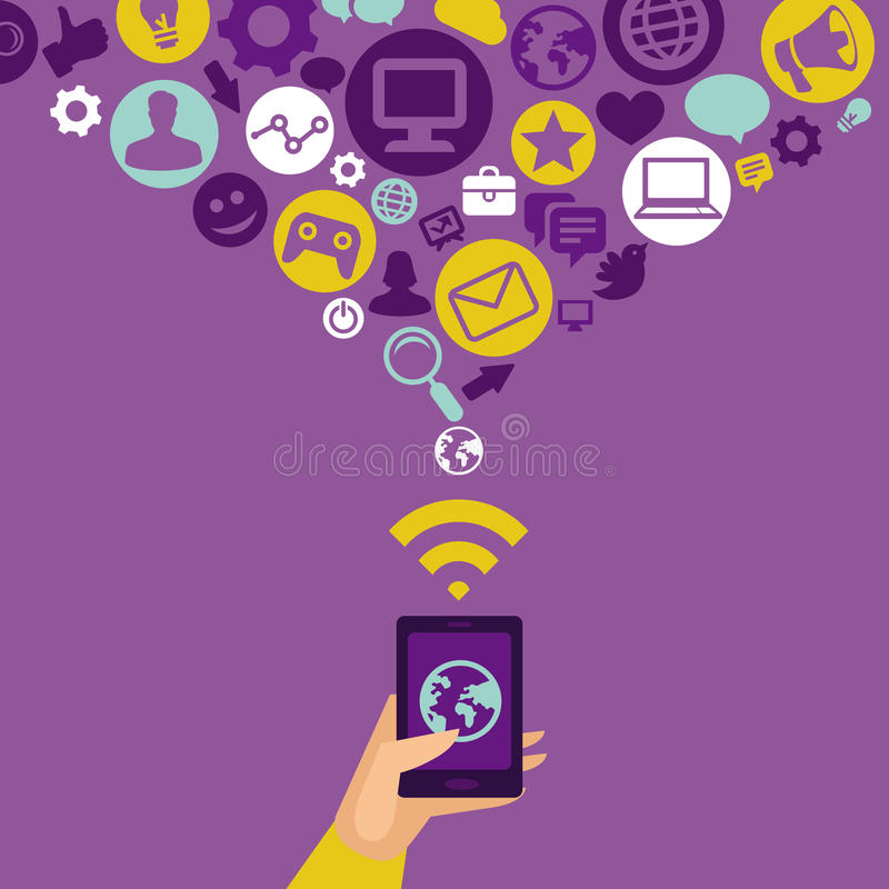 Vector mobile phone in flat style and icons stock illustration