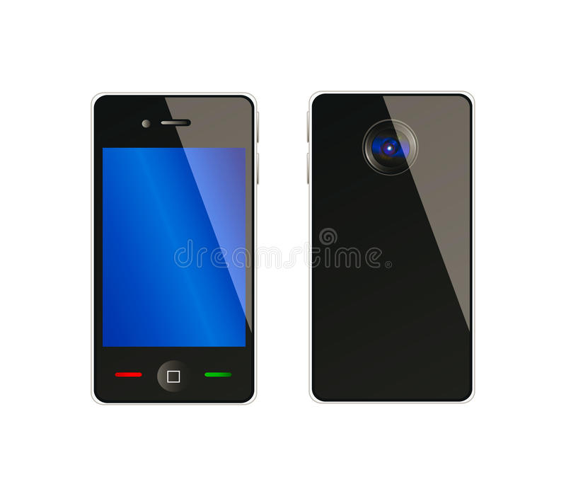 Vector Mobile Phone From Front And Back Side Stock Photography
