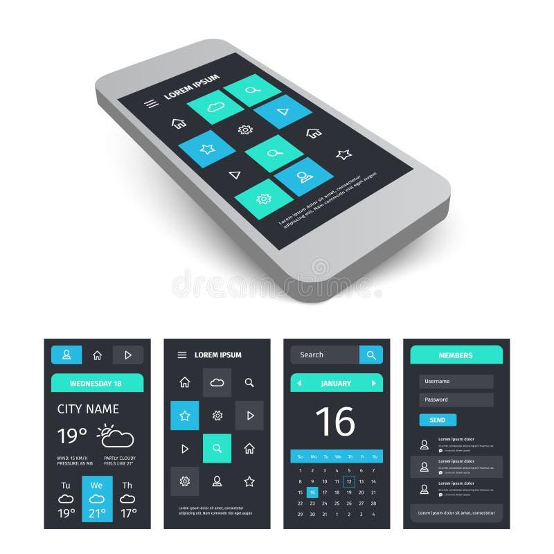 Vector mobile user interface app kit template with. Vector mobile user application interface template. Mobile app ui kit illustration with mockup royalty free illustration