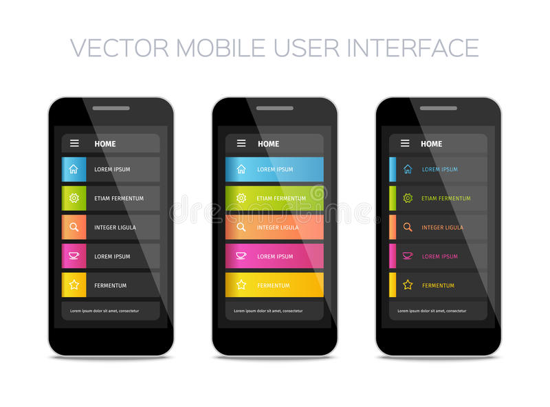 Vector mobile user interface design. Colorful ui layout. Set of home pages vector illustration