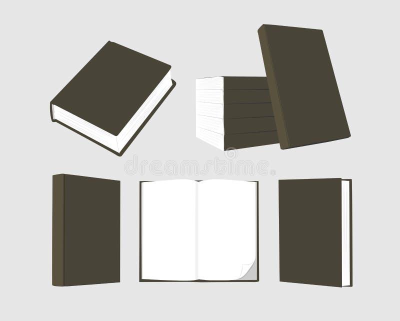 Vector mock up of book black color on grey background. Vector mock up of book black blank cover isolated on grey background royalty free illustration