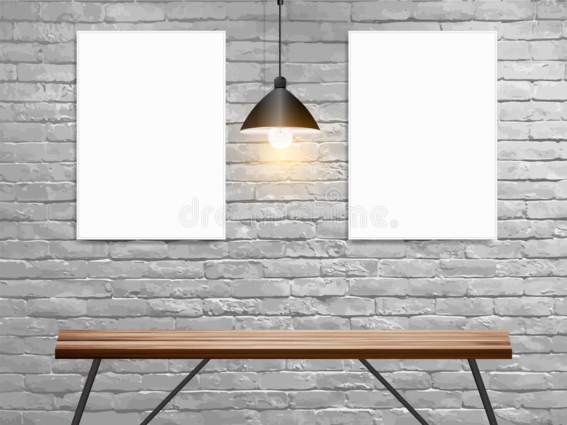 Vector Mock up poster on white brick wall in interior with wood table royalty free illustration