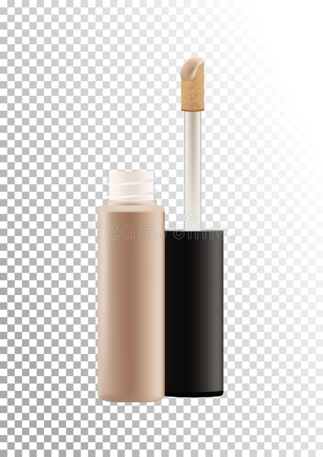 Vector mock up of realistic concealer makeup open bottle with tassel. Package of face skin corrective cosmetic product stock illustration