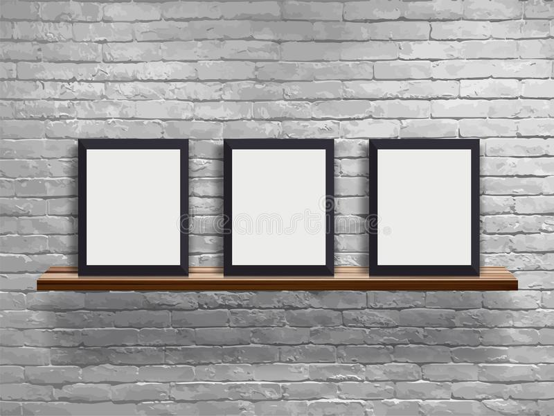 Vector mock up three blank frame on wood shelf with white brick wall vector illustration