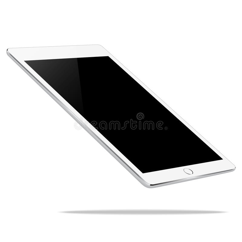 Vector, mock up white tablet perspective view isolated on white vector illustration