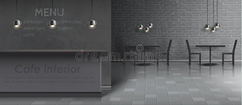 Vector mockup of cafe interior, empty restaurant vector illustration