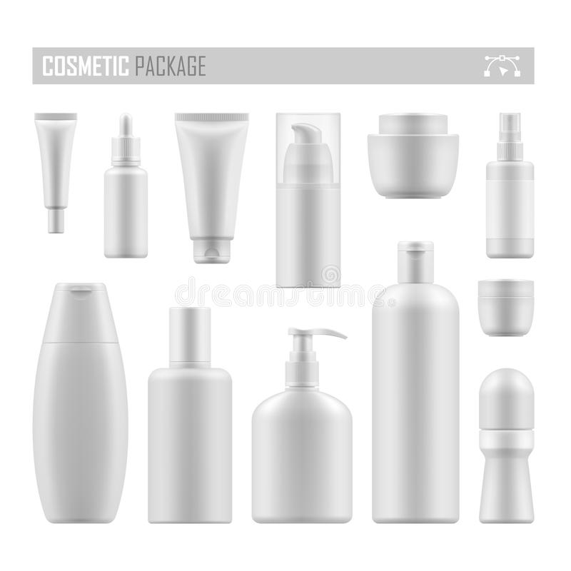 Vector mockup for cosmetic product. Set of empty realistic package for cosmetic product. Collection of blank template of plastic container with pump, tube vector illustration