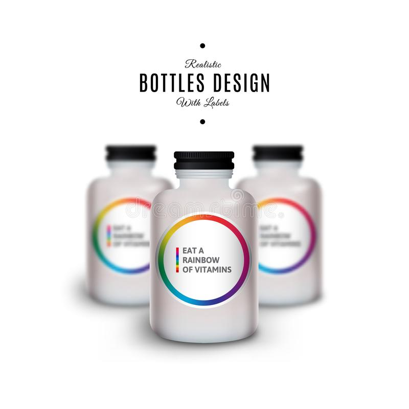 Vector Mockup of White Realistic Plastic Bottles with Vitamins. Product Packaging Design. Plastic Container Mock Up.  royalty free illustration
