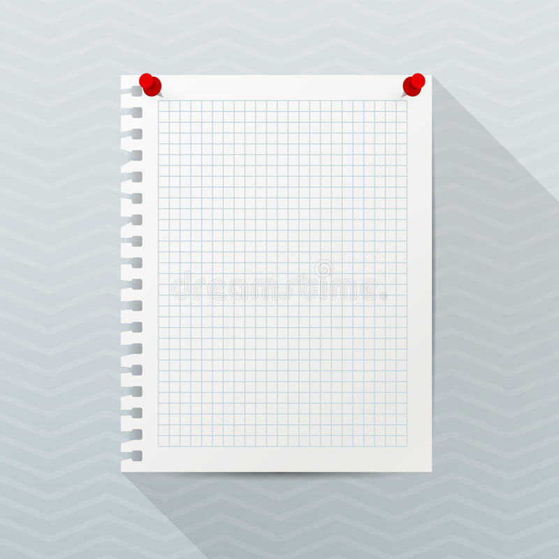 Vector mockup. White sheet of notebook paper with red push pins hanging on a gray office wall. Empty rectangular blank. royalty free illustration