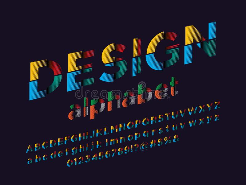 Abstract font. Vector of modern abstract alphabet design royalty free illustration