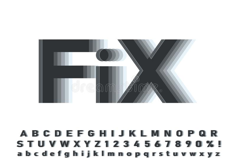 Vector of modern abstract font and alphabet royalty free stock images