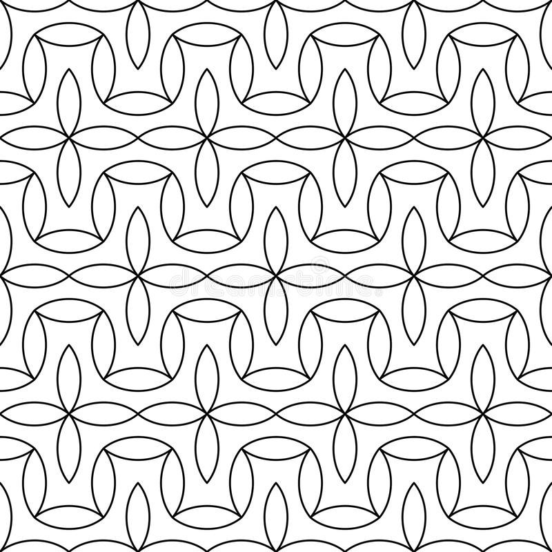 Vector modern abstract geometry floral pattern. black and white seamless geometric background royalty free illustration