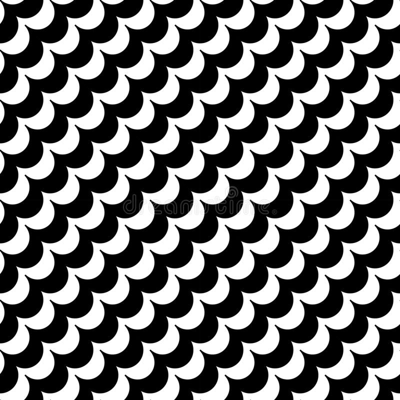 Vector modern abstract geometry waves pattern. black and white seamless geometric background stock illustration