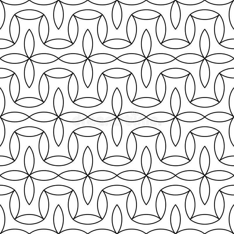 Vector modern abstract meetkunde bloemenpatroon zwart-witte naadloze geometrische achtergrond royalty-vrije illustratie