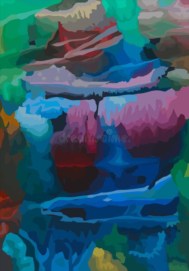 Vector Modern art. Abstracte textuurachtergrond Digitaal ontwerp het schilderen impressionismekunstwerk stock illustratie