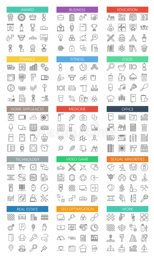 Vector modern big flat outline icons set on white royalty free illustration