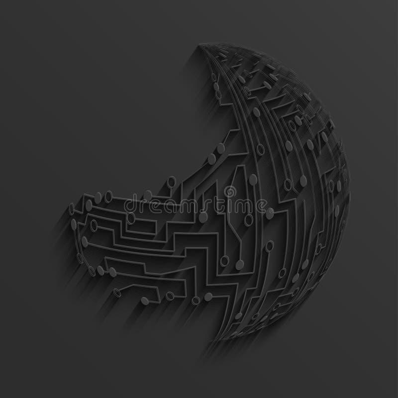vector modern black circuit board background stock vector