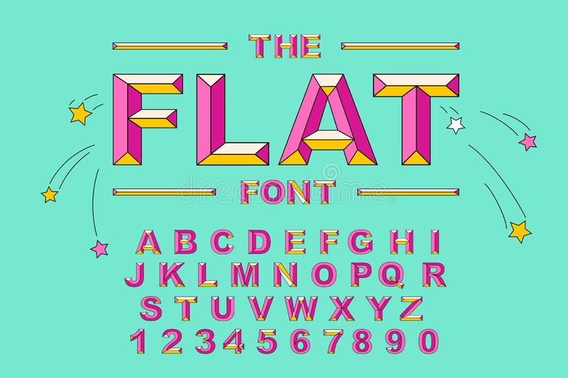 Vector of modern bold font and alphabet. Vintage Alphabet vector 80 s stock illustration