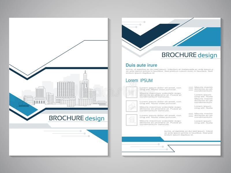 Vector modern brochure, abstract flyer with background of buildings. City scene. Layout template. Aspect Ratio for A4 size. Poster. Of blue, grey, black and stock illustration