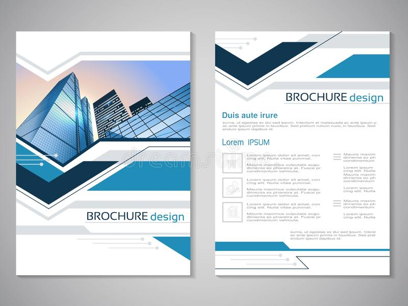 Vector modern brochure, abstract flyer with background of buildings. City scene. Layout template. Aspect Ratio for A4 size. Poster. Of blue, grey, black and vector illustration
