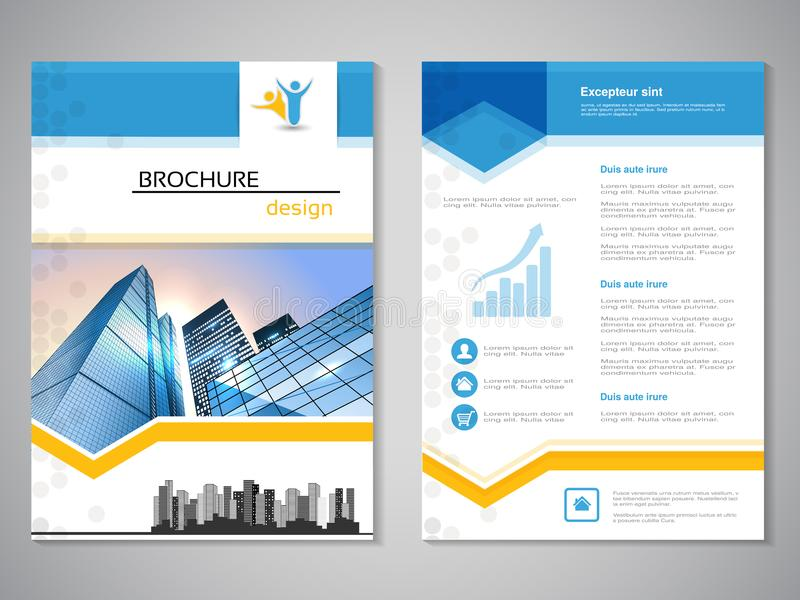 Vector modern brochure, abstract flyer with background of buildings. City scene. Layout template. For A4 size. Poster of blue, yel vector illustration