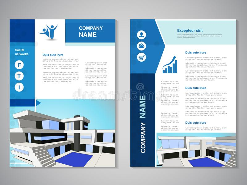 Vector modern brochure, abstract flyer with background of buildings. Modern house. City scene. Layout template. Poster of blue and stock illustration