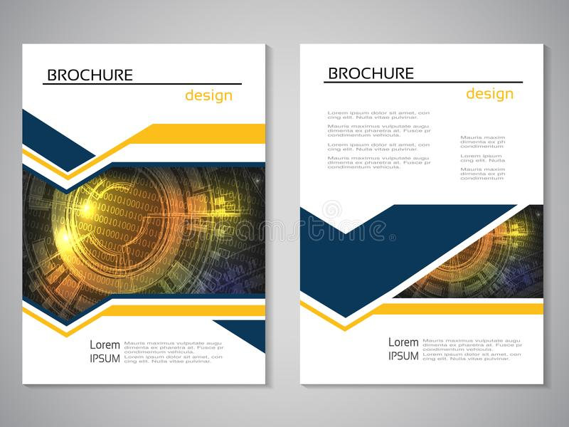 Vector modern brochure, abstract flyer with technology background. Layout template. Aspect Ratio for A4 size. Poster of blue, yell vector illustration