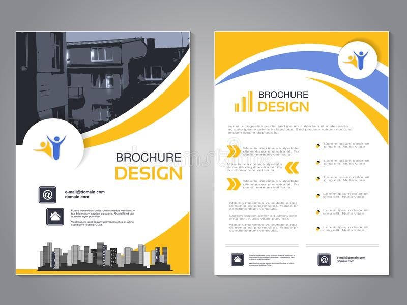 Vector modern brochure design, abstract flyer with background of houses. Layout template with city. blue, yellow and white. vector illustration