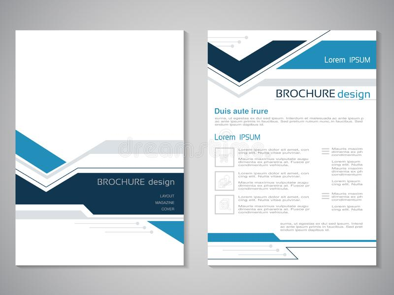 Vector modern brochure. Design of annual report, abstract flyer with technology background. Layout template. Poster of dark blue, stock illustration