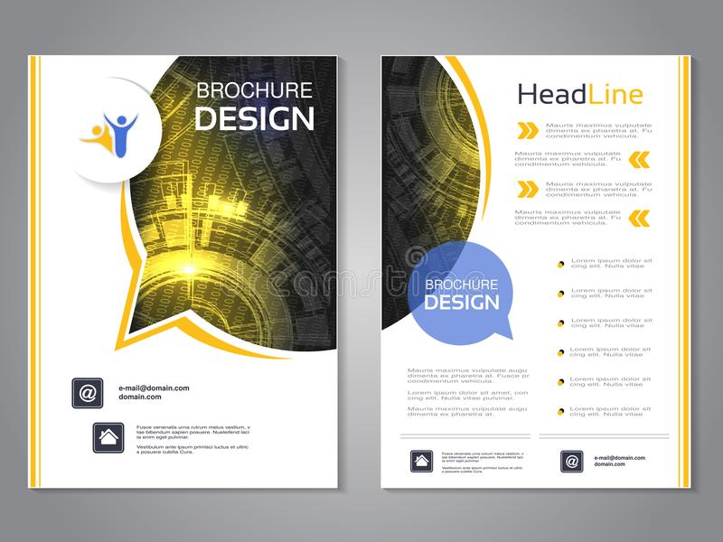 Vector modern brochure rounded design with bubble, abstract flyer with technology background. Layout template. Poster of black, ye. Llow and white color royalty free illustration