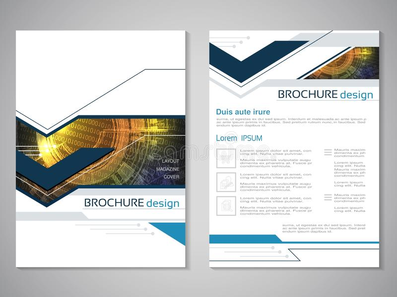 Vector modern brochure with technology design, abstract flyer with futuristic background. Layout template with binary code and gea vector illustration