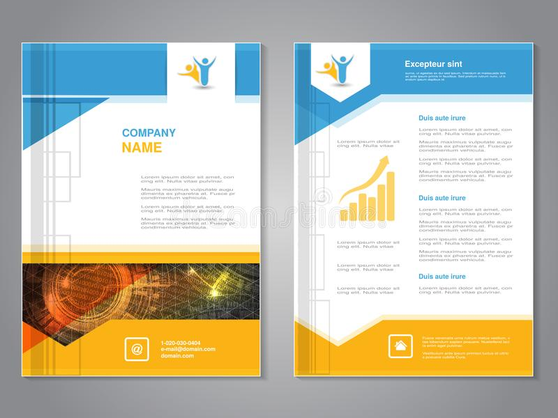 Vector modern brochure with triangle design, abstract flyer with technology background. Layout template. Poster of blue, yellow, r royalty free illustration