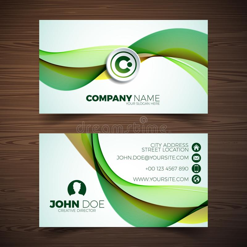 Vector modern business card design template with abstract backgound. Corporate identity illustration with simple logo. royalty free illustration