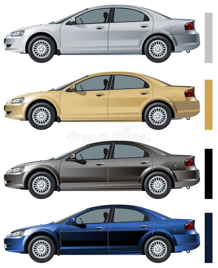 Vector modern car isolated. Vector illustration GAZ Volga Siber. Available CDR-9 vector format stock illustration