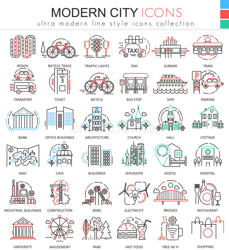 Vector Modern city color flat line outline icons for apps and web design. Urban smart city elements icons. Vector Modern city color flat line outline icons for royalty free illustration