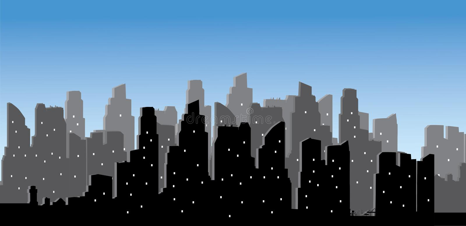 Vector modern city skyline. Vector high modern building in cityscape background vector illustration