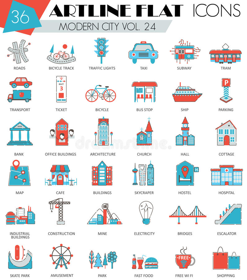 Vector Modern city ultra modern outline artline flat line icons for web and apps. Vector Modern city ultra modern outline artline flat line icons for web and royalty free illustration