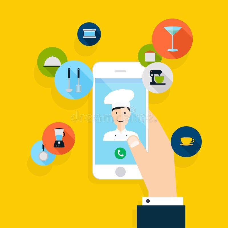 Vector modern creatief vlak ontwerp die op hand mobiele telefoon houden royalty-vrije illustratie