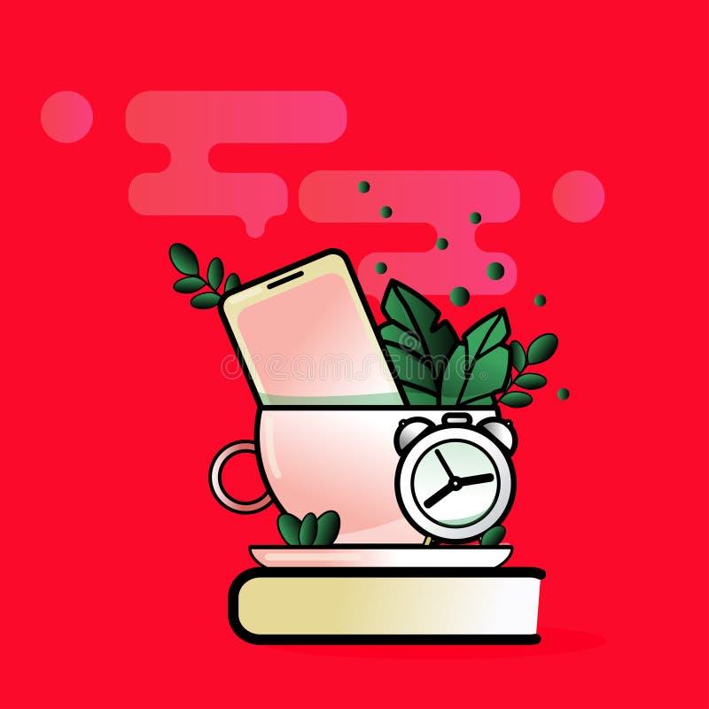 Vector modern creative flat design office work desk, clock, cup, phone vector illustration