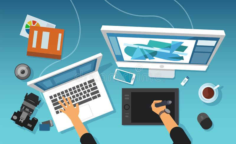 Vector of modern creative office work space of a graphic designer, image retoucher professional. Working on tablet and desktop royalty free illustration