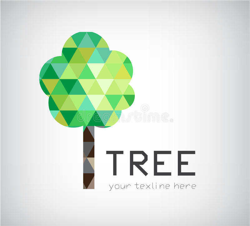 Vector modern crystal tree logo, eco organic icon stock illustration