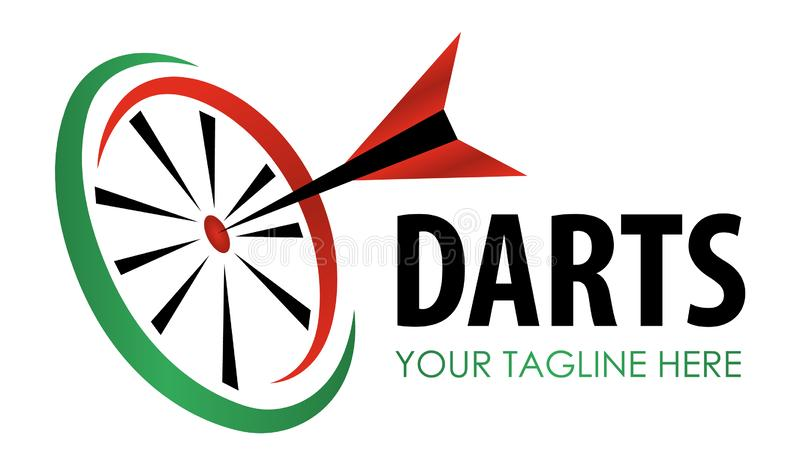 Vector modern darts game label. Creative sporting symbol. Darts, dartboard, ribbon for leisure design.  Hobby concept stock illustration
