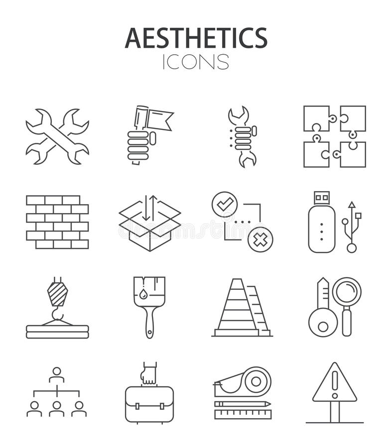 Vector modern dun lijn vlak ontwerp van pictogrammenreeks royalty-vrije illustratie