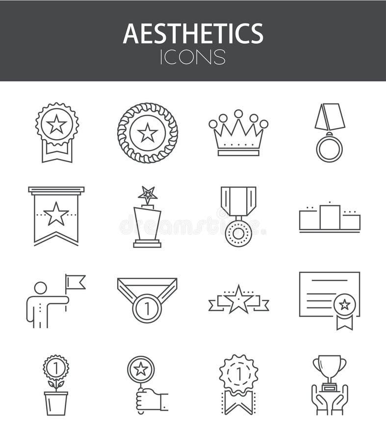 Vector modern dun lijn vlak ontwerp van pictogrammenreeks stock illustratie