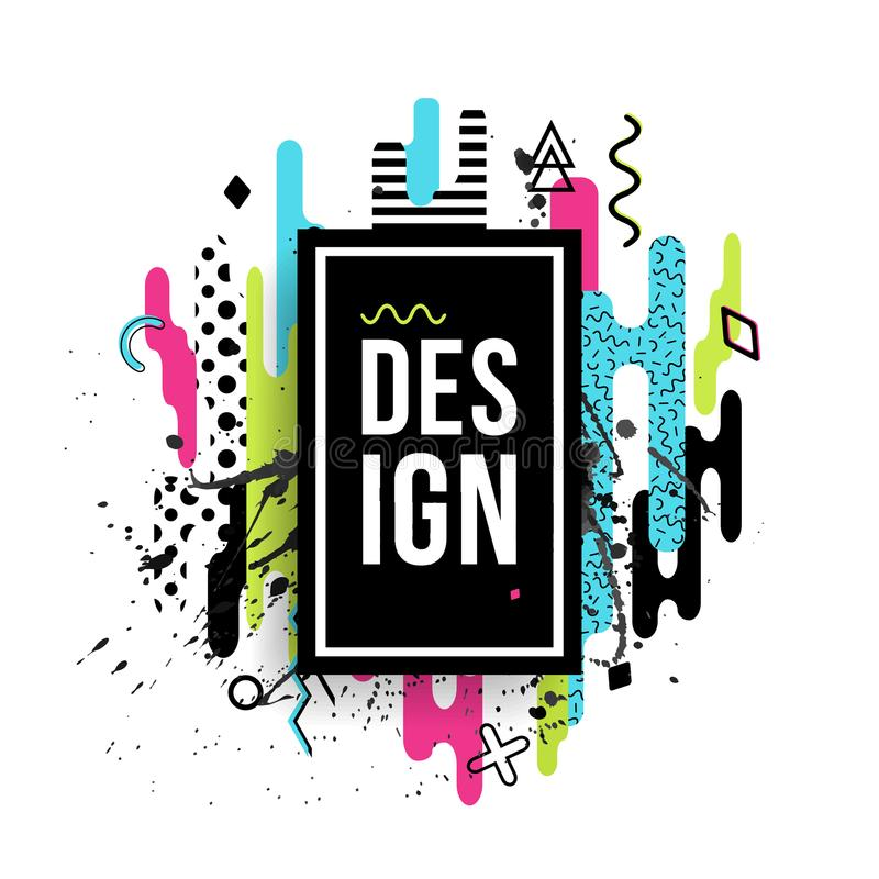 Vector modern dynamic frame made of various rounded shapes vector illustration